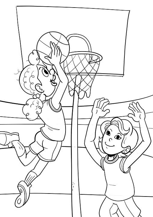 ילדים משחקים כדורסל להדפסה