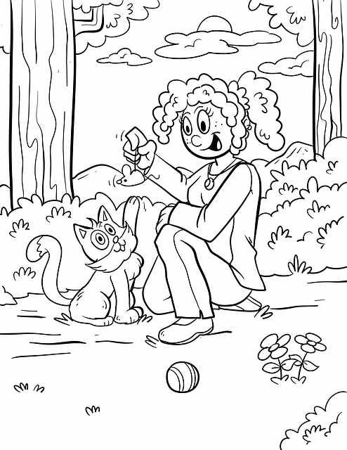 דף צביעה אמא משחקת עם חתול חמוד