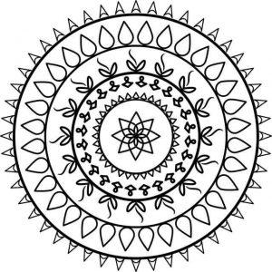דף צביעה מנדלה פרחים מעוגל