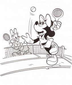 ציור להדפסה מיני ודייזי משחקות טניס