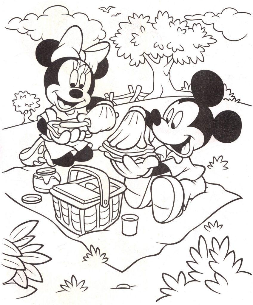 ציור להדפסה מיקי ומיני בפיקניק