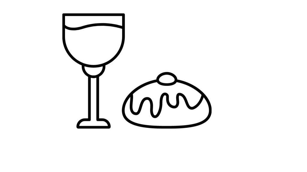 דף צביעה כוס יין וסופגניה